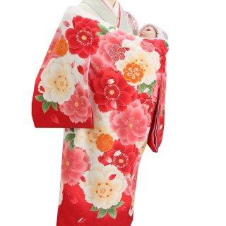 女の子レンタル産着 G95 白地 裾赤 大輪花