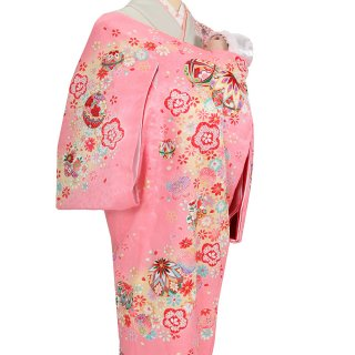 女の子レンタル産着 G93 正絹ピンク地 鞠 小花
