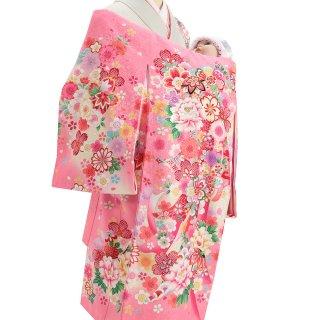 女の子レンタル産着 G94 正絹ピンク地 熨斗 花々
