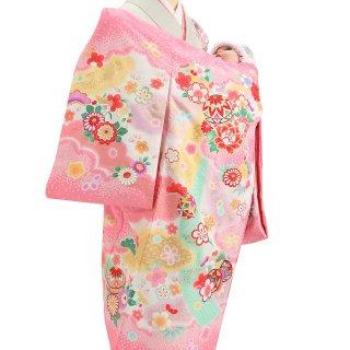 女の子レンタル産着 G91 ピンク地 鞠 疋田柄