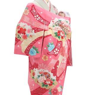 女の子レンタル産着 G90 正絹ピンク地 鼓 束ね熨斗