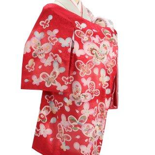 女の子レンタル産着 G88 正絹赤地 蝶 鞠