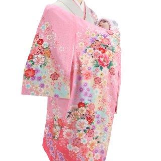 女の子レンタル産着 G86 正絹ピンク地 小花パステル