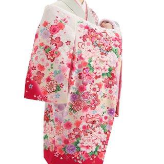 女の子レンタル産着 G83 正絹白地 薄ピンク 鞠と花束