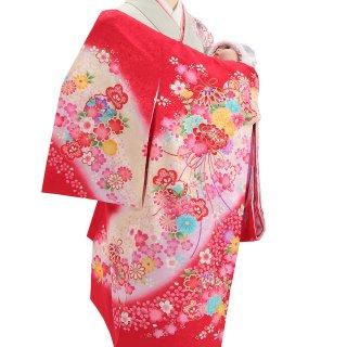 女の子レンタル産着 G82 正絹赤地 花束と鞠