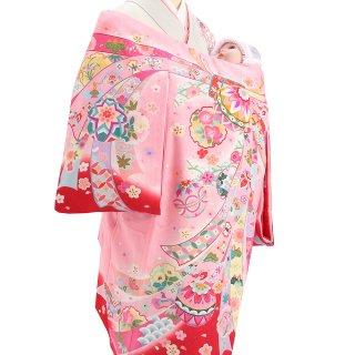 【高級】女の子レンタル産着 G223 高級正絹ピンク地 丹後紋意匠 束熨斗