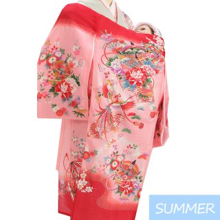 【夏用 絽】女の子レンタル産着 G351 正絹赤地 花 鳳凰