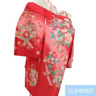 【夏用 絽】女の子レンタル産着 G352 正絹赤地 花車 蝶