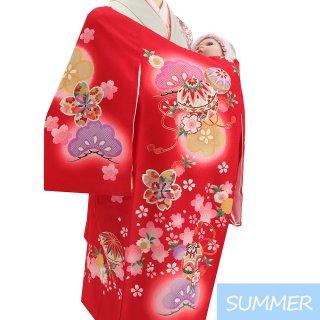 【夏用 絽】女の子レンタル産着 G353 正絹赤地 鞠 花々