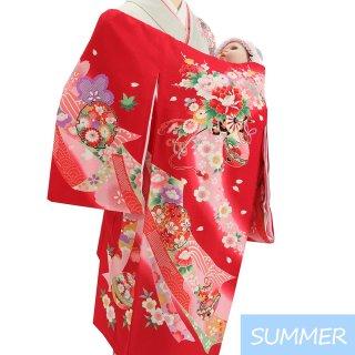 【夏用 絽】女の子レンタル産着 G354 正絹赤地 花車 鈴