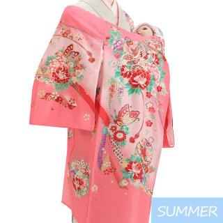 【夏用 絽】女の子レンタル産着 G355 正絹ピンク地 鈴 花々蝶