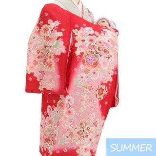 【夏用 絽】女の子レンタル産着 G356 正絹赤地 鞠 小花
