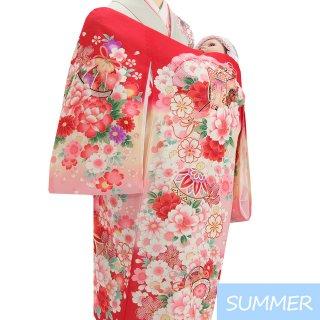 【夏用 絽】女の子レンタル産着 G357 正絹赤地 御所車 大輪