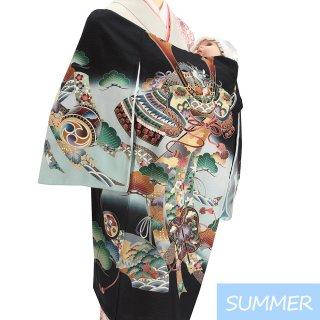 【夏用 絽】男の子レンタル産着 B301 正絹黒地 兜 熨斗