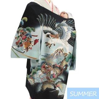 【夏用 絽】男の子レンタル産着 B303 正絹黒地 鷹 富士