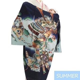 【夏用 絽】男の子レンタル産着 B305 正絹紺地 兜 軍配