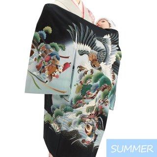 【夏用 絽】男の子レンタル産着 B306 正絹黒地 鷹 小槌