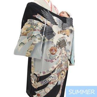 【夏用 絽】男の子レンタル産着 B307 正絹黒地 鷹 束ね熨斗