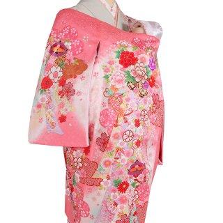 女の子レンタル産着 G99 正絹ピンク地 花車 熨斗