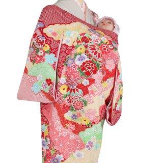 【高級】女の子レンタル産着 G225 高級正絹 総絞り 雲取り 鞠