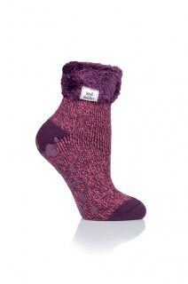 LADIES HEAT HOLDERS LOUNGE SOCKS - FEATHER TURN OVER CUFF
