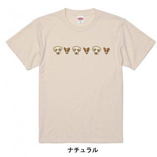 わんこラブ&ジャック(顔並び)-半袖Tシャツ  大人から子どもまでサイズとカラーを選んでオーダー♪