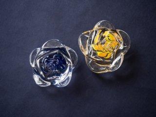 【梶原 理恵子】| 薔薇のペーパーウエイト(ブルー/オレンジ)| 〜春夏秋冬、涼やかに〜