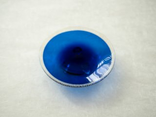 [梶原 理恵子]| 三つ足銀箔銘々皿・青(Cobalt Blue)