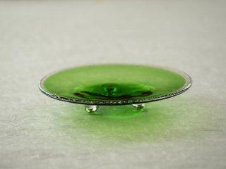 [梶原 理恵子]| 三つ足銀箔銘々皿・緑(Cucumber Green)
