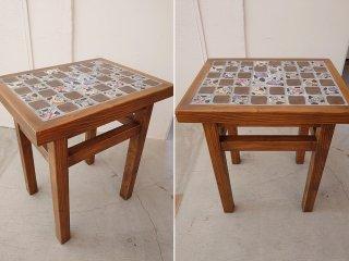 【堂前守人】| ベッドサイドテーブル (*テーブルトップの陶板:堂前守人)