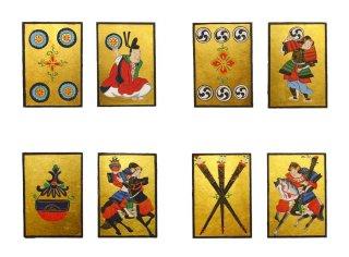 【林 李子・日本画作品】| 「うんすんかるた」(硬貨・巴・宝珠・棒) *硬貨・宝珠ご売約済み