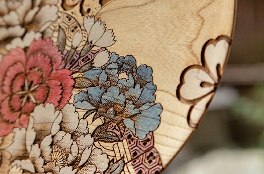 [Sansai〜三彩工房/友禅木製品]  友禅彫刻皿   〜オンライン工芸展 2021〜