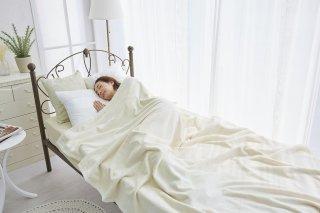 シール織 綿毛布 アイボリー  ダブル 180cm×210cm  国産 【メーカー直販価格】