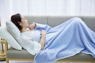 シール織 ハーフサイズ 綿毛布 お昼寝ケット ブルー 140cm×100cm  国産 【メーカー直販価格】