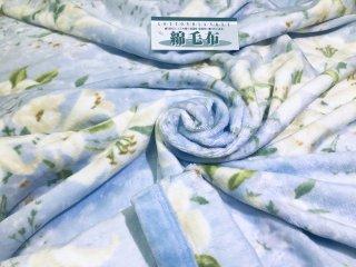 お得な訳あり!! シール織 綿毛布 花柄プリント ブルー  シングル 140�×200� 国産 【メーカー直販価格】