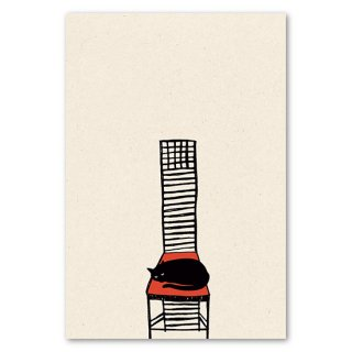 post card 椅子でくつろぐ猫