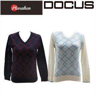 (クリアランス)ドゥーカス DOCUS レディースゴルフウェア Vネック ニットシャツ セーター DCL16S004