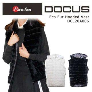 (クリアランス)エコファー フーデッド ベスト 秋冬 ゴルフ ウェア レディース DOCUS Eco Fur Hooded Vest DCL20A006