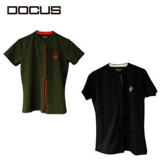 ドゥ〖カス 2021 秸财 ゴルフ ウェア レディ〖ス シンプル ク〖ル かっこいい おしゃれ 谨灰 DOCUS Fly Front Shirt DCL21S002