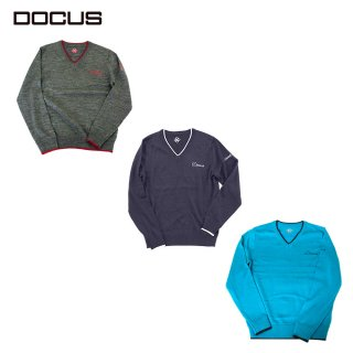 (9月末発売)DOCUS メンズ セーター V-Neck Sweater 秋冬ウェア チャコール ネイビー ターコイズ DCM21A002 dcap21aw