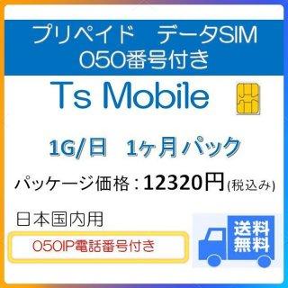 050番号付き 高速データ容量1G/日 1ヶ月プラン DocomoデータSIM