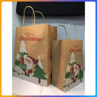 クリスマス紙袋 ラッピング用 クリスマスギフト紙袋 Xmas プレゼント包装用 christmas present bag 業務用10枚セット