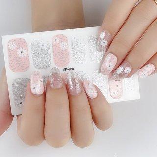 ネイルシール ハンド用 ピンク系 ホワイト クリア キラキラ お洒落 大人しい 淑女 韓国風 最新作 3D 全7色選べる 貼るだけ 花 しま ストーン柄 手指爪用