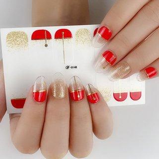 ネイルシール ハンド用 レッド系 赤 グレー クリア キラキラ お洒落 パッション 情熱 目立つ 韓国風 最新作 3D 全6色選べる 貼るだけ 花  ストーン柄 手指爪用