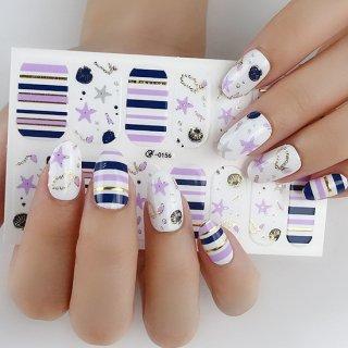 ネイルシール ハンド用 パープル系 紫 グレー ホワイト クリア キラキラ お洒落 大人しい 淑女 韓国風 最新作 3D 貼るだけ 花 しま ストーン柄 手指爪用