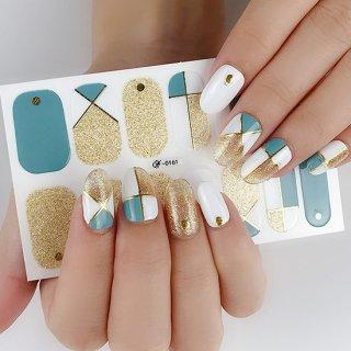 ネイルシール ハンド用 ミント系 グリーン ゴールド 金 ホワイト キラキラ おしゃれ ファッション 韓国風 3D サロンレベル 貼るだけ 花 しま ボード柄 手指爪用