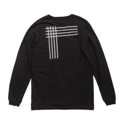 crew neck long sleeve tee <br />(crossing) black