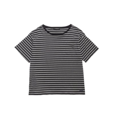 crew neck tee (border) <br />gray × black