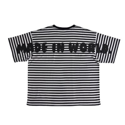 big silhouette border tee <br />(MADE IN WORLD) white × black