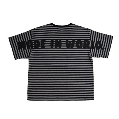 big silhouette border tee <br />(MADE IN WORLD) gray×black